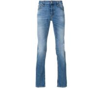 stonewashed straight leg jeans