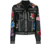 studded rose patch jacket