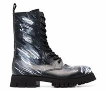 paint-splatter combat boots