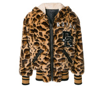 Shearling-Mantel mit Leoparden-Print