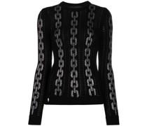 Intarsien-Pullover mit Monogrammmuster