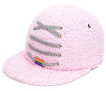 lace-up detail textured cap