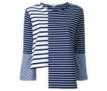 Gestreiftes Langarmshirt mit asymmetrischem Design
