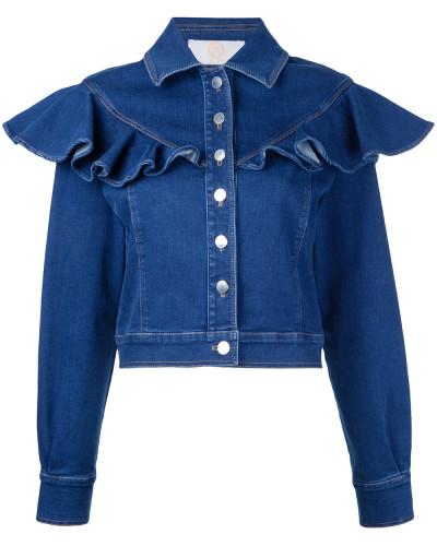 Jeansjacke mit Rüsche