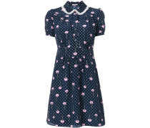 floral print polka-dot dress