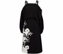 floral cold-shoulder silk dress