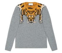 Intarsienpullover mit Tiger