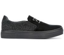 Slip-On-Sneakers mit glitzerndem Einsatz