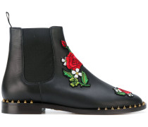 Chelsea-Boots mit Rosen-Patch