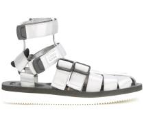 Sandalen mit Riemen in Metallic-Optik