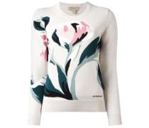 Intarsien-Pullover mit Blumenmotiv