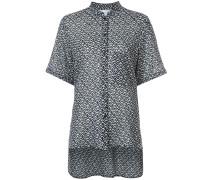mandarin-collar printed blouse