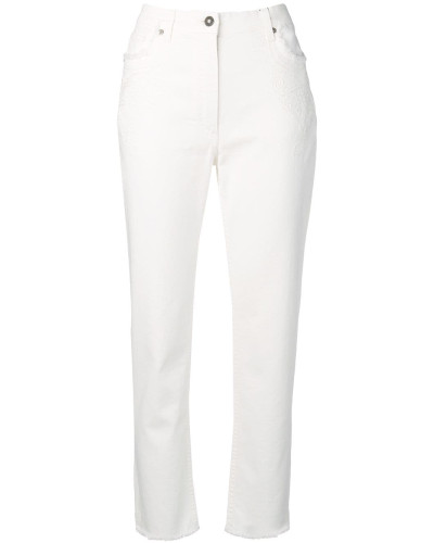 Bestickte Cropped-Jeans