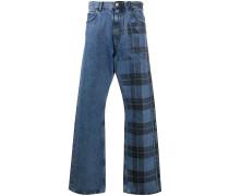 Karierte Jeans mit weitem Bein