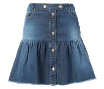 ruffled buttoned denim skirt