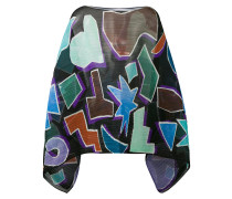 geometric print pleated poncho - women