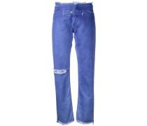 Tapered-Jeans mit Knopflasche