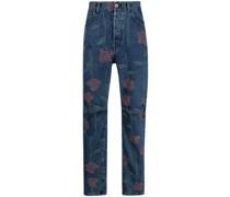 Gerade Jeans mit Rosen-Print