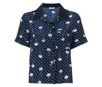 Gepunktetes Seidenhemd mit Blumen-Print