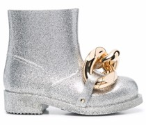 chain-detail glitter rubber ankle boots