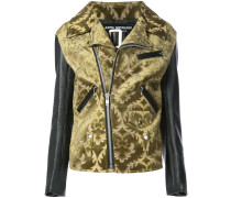 jacquard biker jacket