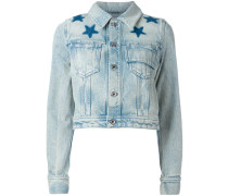 star print bleached denim jacket