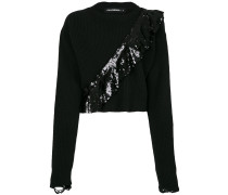 cropped jumper with sequinned frill