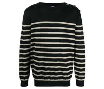 Gestrickter Pullover mit Breton-Streifen