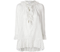 pinstripe frill trim blouse