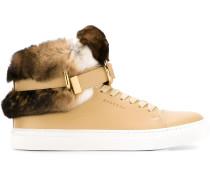 High-Top-Sneakers mit Kaninchenpelzbesatz