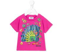 T-Shirt mit Pfauen-Print