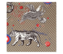 Space Animals print modal silk shawl