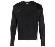Gerippter Pullover mit Logo-Patch