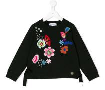 flower embroidered sweatshirt