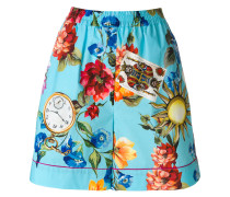 printed elasticated waist shorts