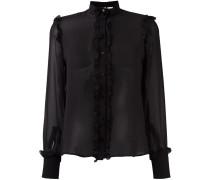 ruffled detail sheer shirt