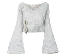 embellished V-neck jumper