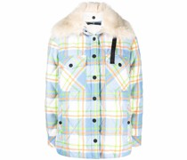 Curienne plaid shearling shirt jacket