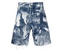 landmark-print denim shorts