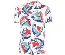 Kurzärmeliges Hemd mit Marine-Print