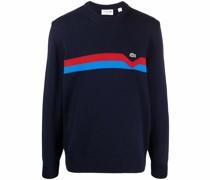 logo-patch striped sweater