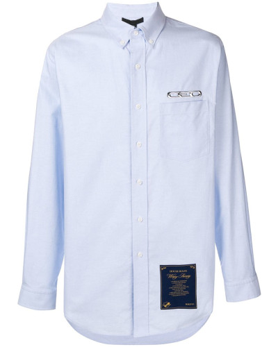 Langes Button-down-Hemd mit Patch
