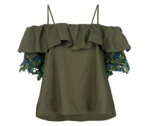 embroidered sleeves dropped shoulders blouse