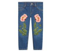 Jeans mit Blütenstickerei