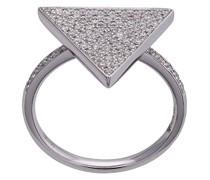 18kt 'Pearl & Triangle' Weißgoldring