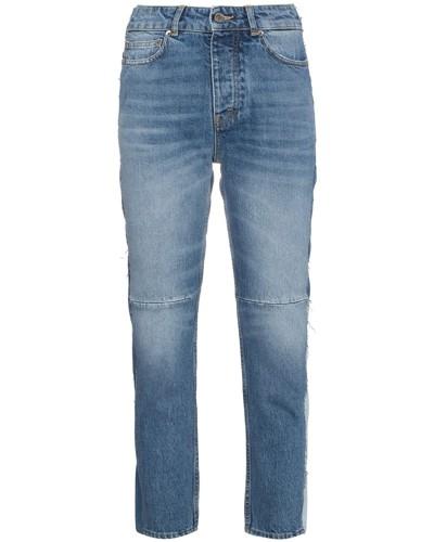 Cropped-Jeans mit Patchwork-Design