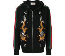 dragon embroidered zip hoodie