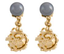 Vergoldete 'Orb & Pearl' Sterlingsilber-Manschettenknöpfe