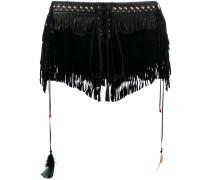 Shorts mit Fransen - women - Seide/Leder - 38