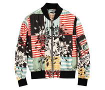 Floral Stripe Print Bomber Jacket